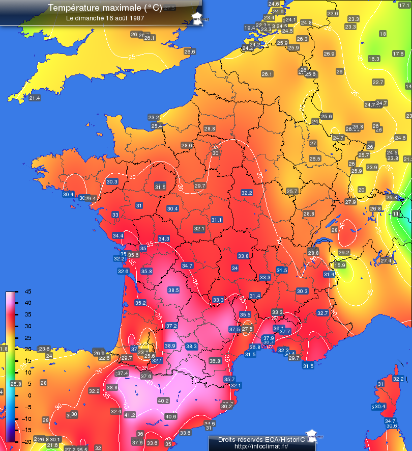 temperature maximale du 20e siecle